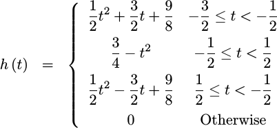 Quadratic eqn for the quadratic created by convolving a rectangle with itself three times
